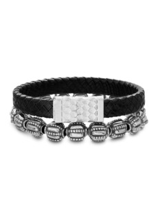 Steve Madden Black Braided Leather Rectangular Wide Bar and Oxidize Textured Beaded Duo Bracelet Set
