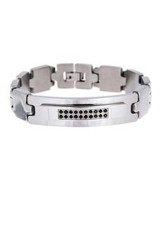 Steve Madden Black Crystal ID Square Link Bracelet