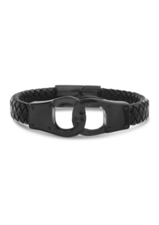 Steve Madden Black IP Stainless Steel Interlock Design Black Leather Braided Chain Bracelet