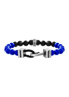 Steve Madden Black Onyx & Lapis Beaded Hook Clasp Bracelet