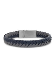 Steve Madden Blue and Grey Braided Leather Bracelet