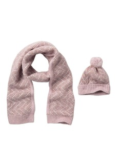 Steve Madden Brushed Chevron Knit Beanie and Scarf Set