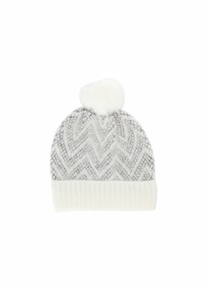 Steve Madden Brushed Chevron Knit Cuff Hat w/ Pom