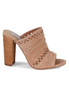 Steve Madden Carolina Suede Whipstitched Stacked Heel Sandal