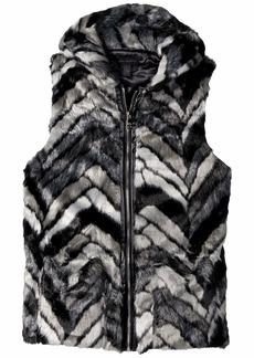 Steve Madden Chevron Fur Hood Vest