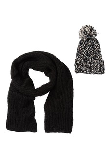 Steve Madden Cozy Blanket Wrap Scarf & Pom Knit Beanie Set