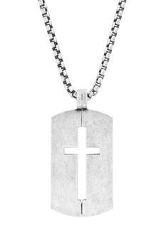 Steve Madden Cutout Cross Dog Tag Box Chain Necklace