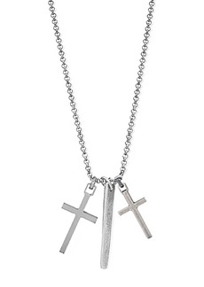 Steve Madden Double Cross & Bar Pendant Box Chain Necklace
