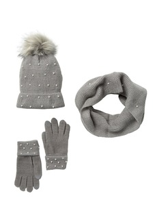 Steve Madden Embellished Pompom Beanie, Scarf, & Gloves Set