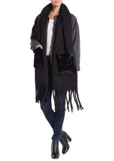 Steve Madden Faux Fur Pocket Knit Scarf Muffler