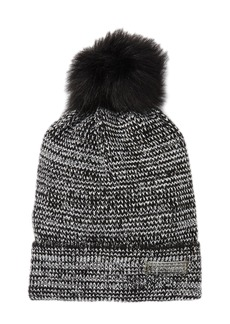 Steve Madden Faux Fur Pompom Metallic Knit Beanie