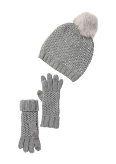 Steve Madden Faux Fur Pompom Studded Knit Hat & Gloves Set