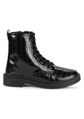 Steve Madden Flann Croc-Embossed Combat Boots