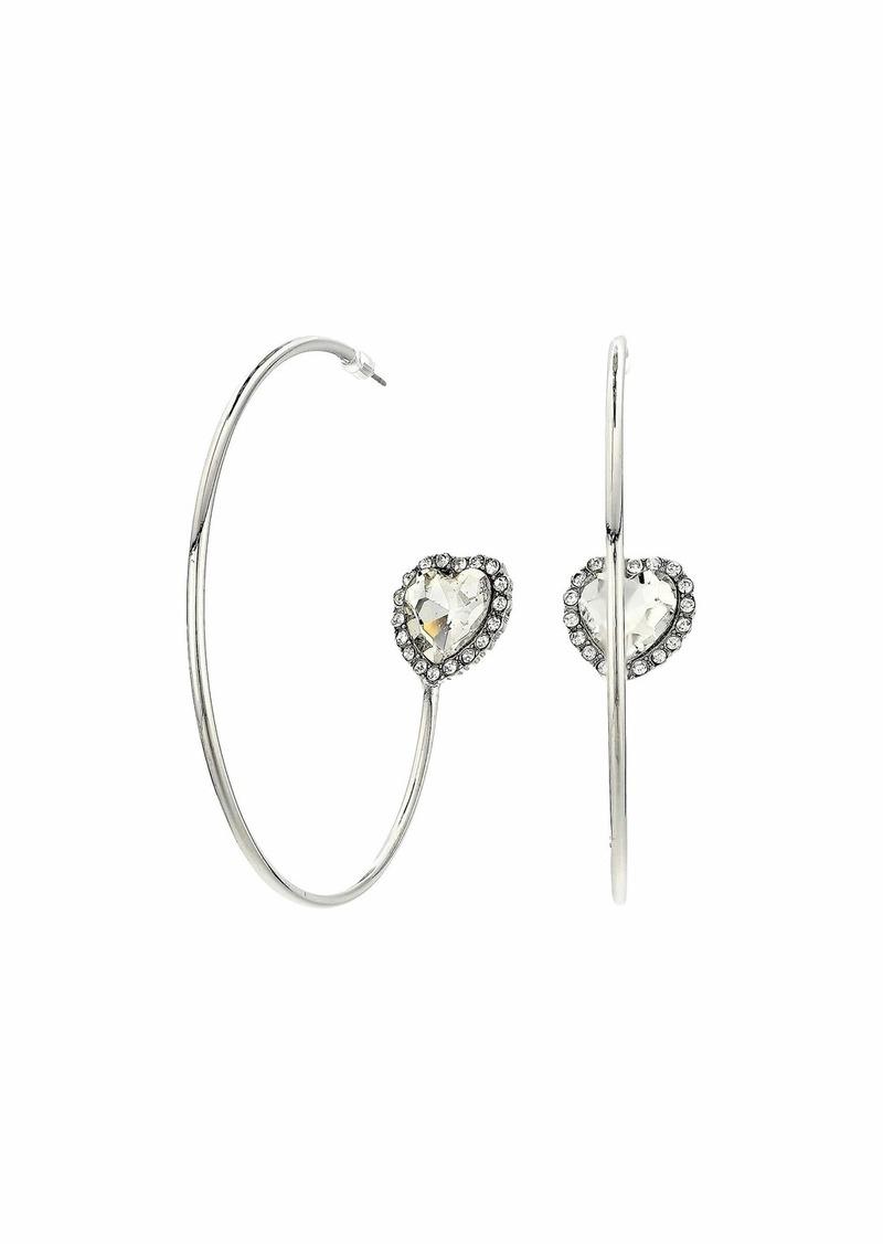 Steve Madden Heart Rhinestone Hoop Earrings