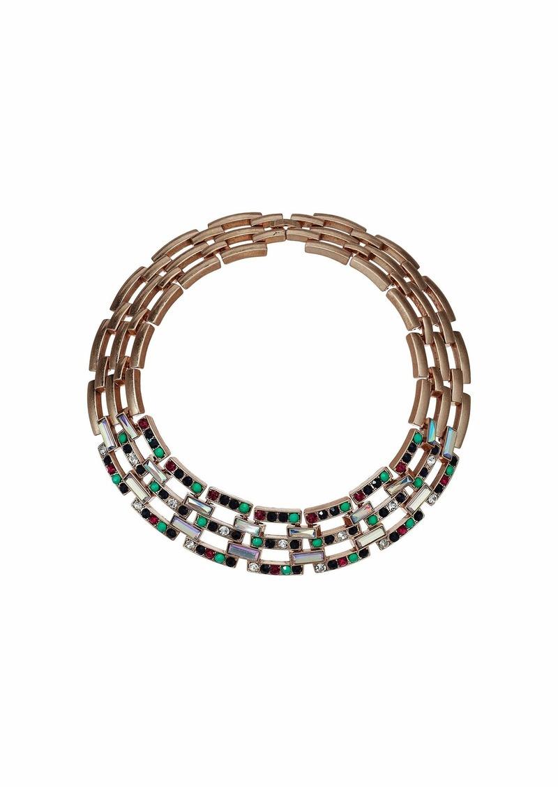 Steve Madden Jeweled Square Link Design Choker Necklace