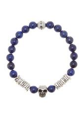 Steve Madden Lapis & Skull Bead Stretch Bracelet