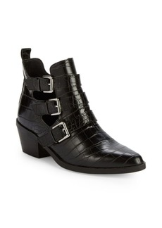 Steve Madden Laser Croco-Embossed Ankle Booties