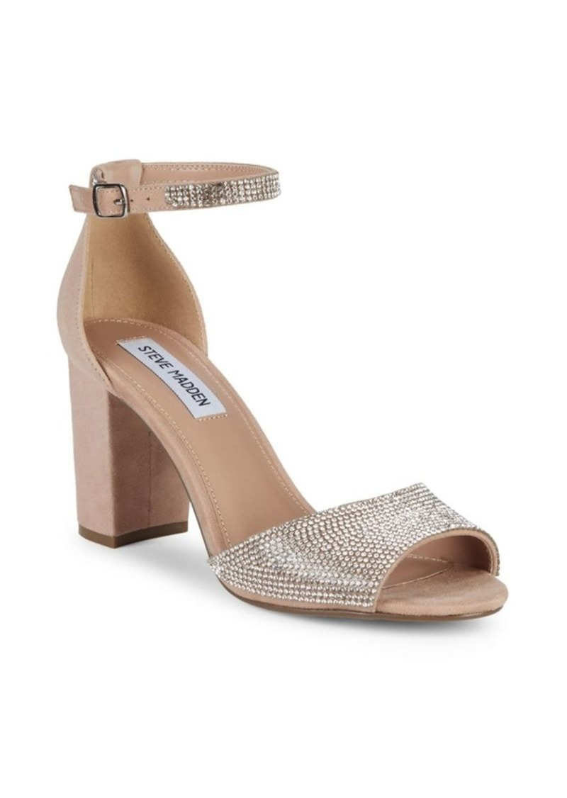 Steve Madden Mae Chunky Heel Jeweled Leather Sandals