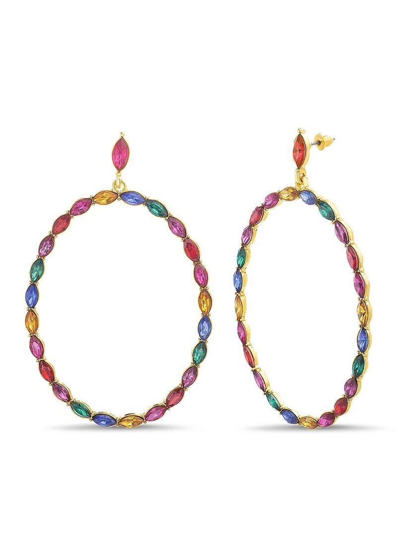 Steve Madden Marquise-Cut Rhinestone Hoop Earrings