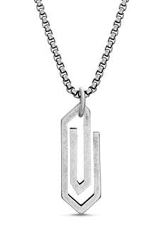 Steve Madden Matte Geometric Paperclip Pendant Box Chain Necklace