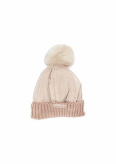 Steve Madden Nylon Puffer Hat with Faux Fur Pom