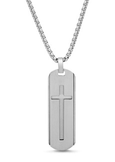 Steve Madden Oval Open-Cross Dogtag Box Chain Necklace