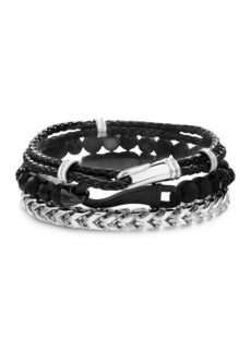 Steve Madden Oxidized Chained/ Tri Colored Beaded / Braided Leather Hooked Trio Bracelet Set