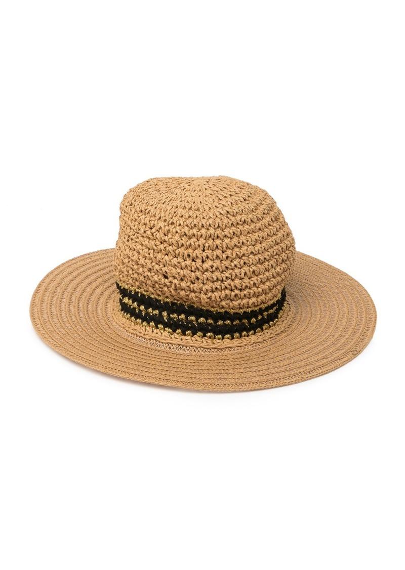 Steve Madden Panama Faux Suede & Metallic Woven Hat