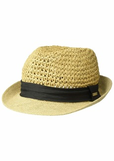 Steve Madden Paper Crochet Straw Fedora with Woven Band