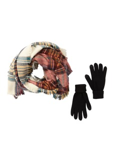 Steve Madden Plaid Blanket Wrap Scarf & Gloves Set