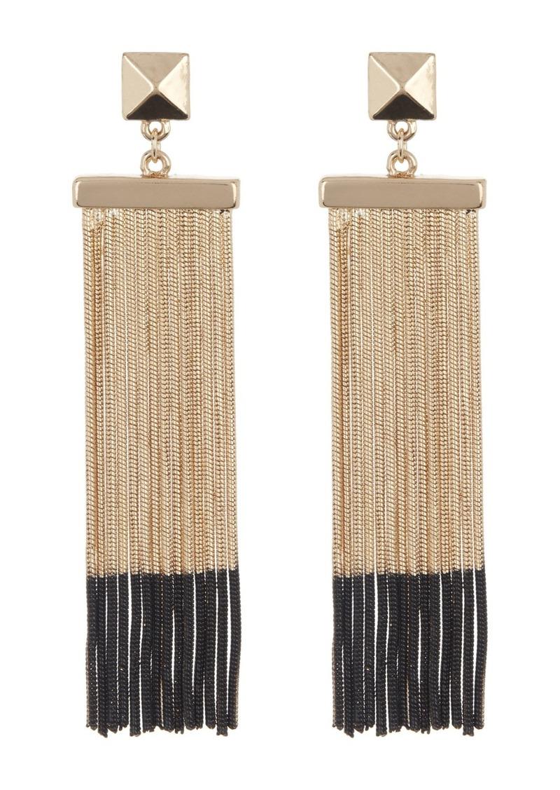 Steve Madden Pyramid Snake Chain Fringe Tassel Ombre Earrings