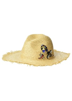 Steve Madden Raffia Fedora with Bug Trims