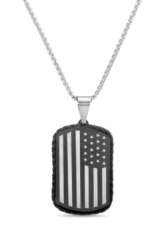Steve Madden Reinforcements Stainless Steel American Flag Leather Border Dog Tag Box Chain Necklace