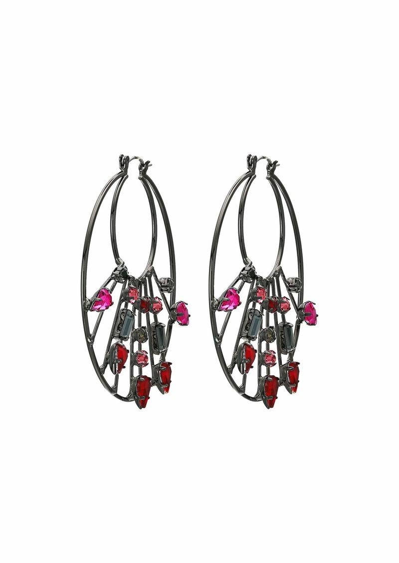 Steve Madden Rhinestone Cluster 2-Layer Circle Hoop Earrings