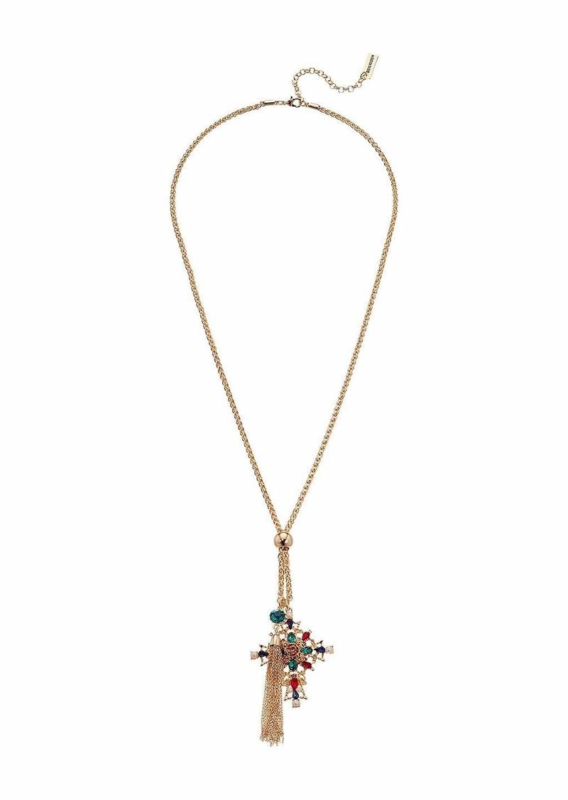 Steve Madden Rhinestone Fancy Cross Pendant Tassel Chain Necklace