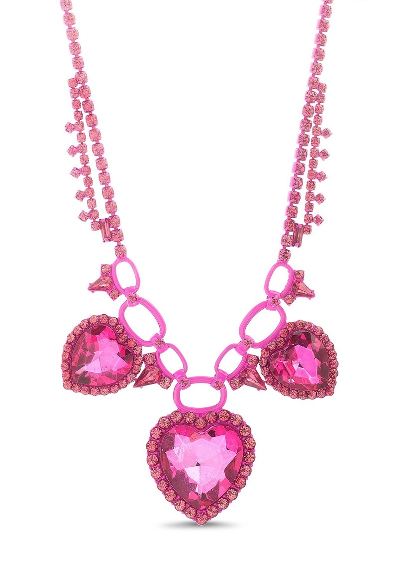 Steve Madden Rhinestone Heart Pendant Necklace