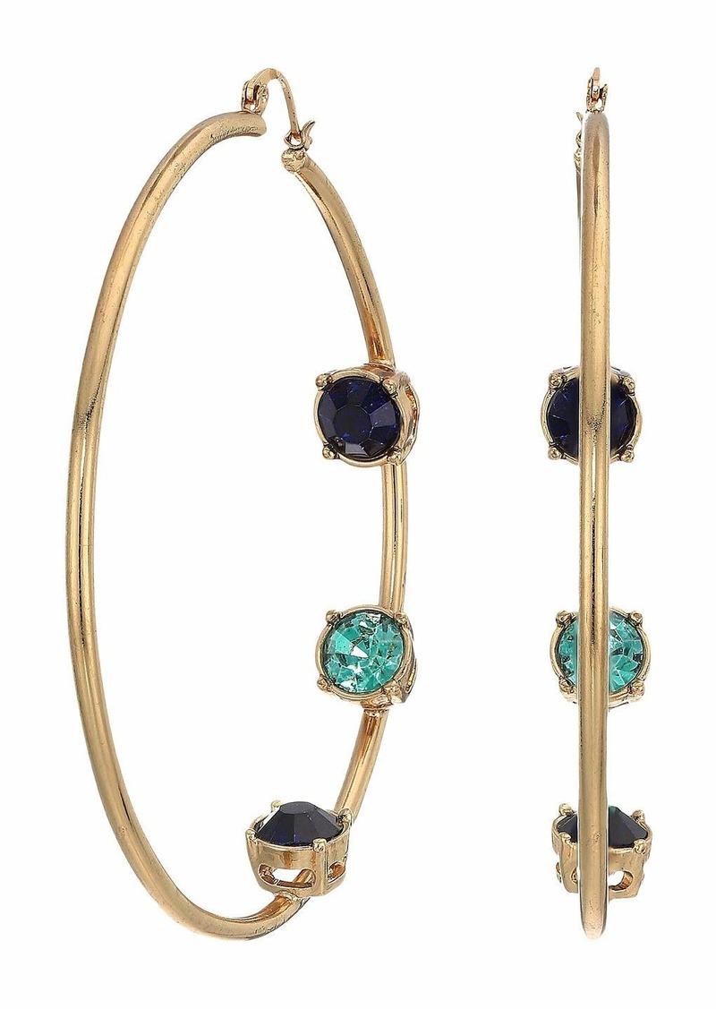 Steve Madden Rhinestone Inside Stud Design Hoop Earrings