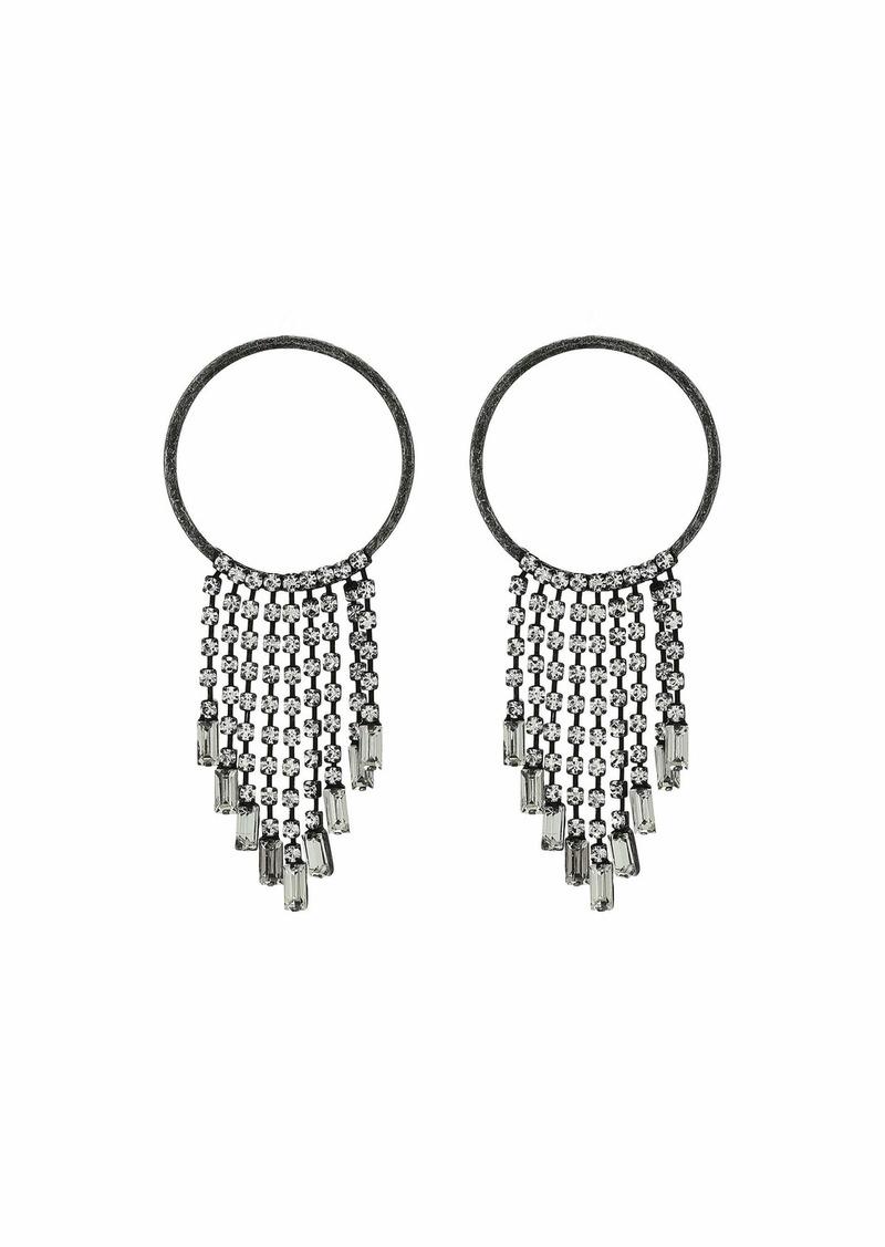 Steve Madden Round and Baguette Rhinestone Fringe Chain Post Earrings