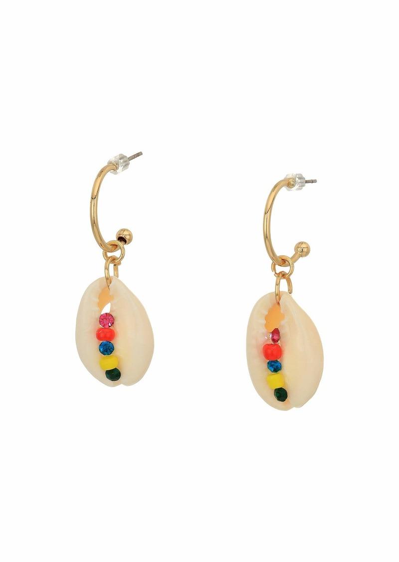 Steve Madden Seashell and Rhinestone Drop Post Earrings