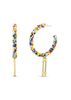 Steve Madden Seed Bead C-Hoop Post Earrings with Casted Stone Safety Pin Charm Dangle