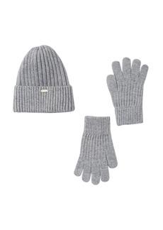 Steve Madden Silver Lurex Beanie & Gloves Set
