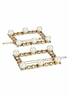 Steve Madden Simulated Pearl Station Curb Chain Square Style Duo Hair Pin Set