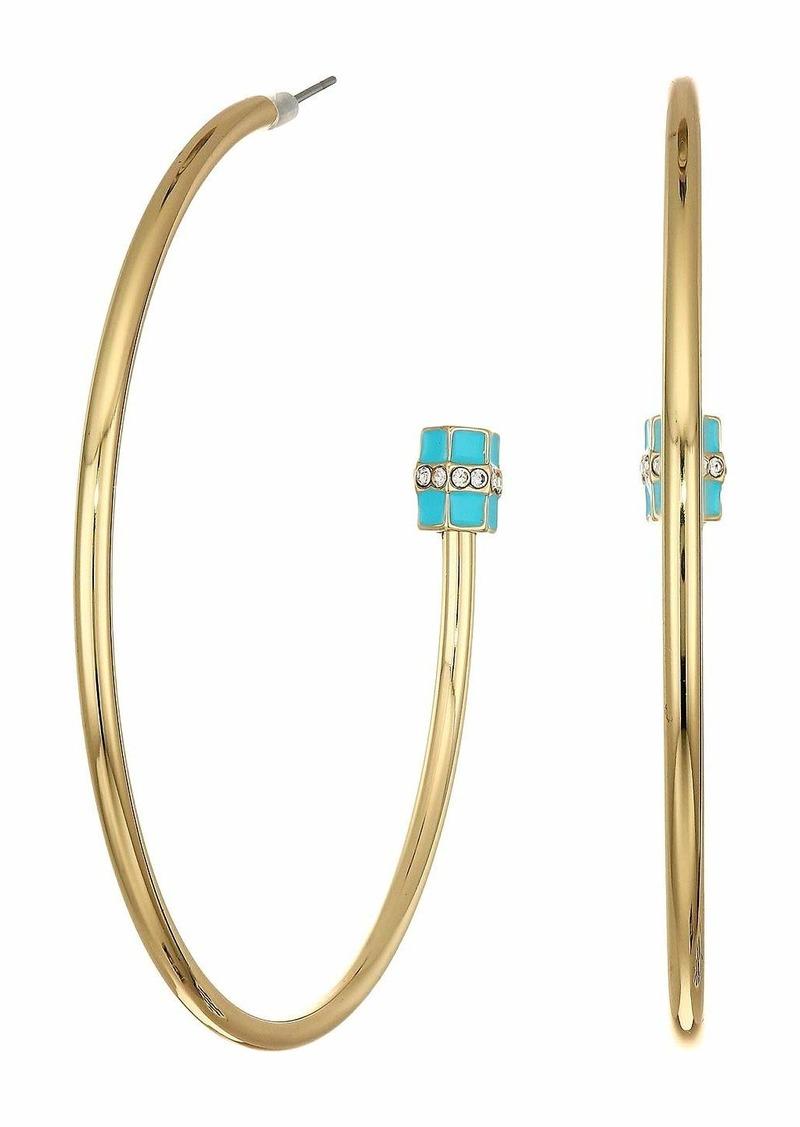 Steve Madden Simulated Resin Cylinder Ends Open Hoop Post Earrings