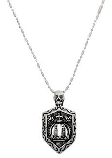Steve Madden Skull & Shield Bar Necklace
