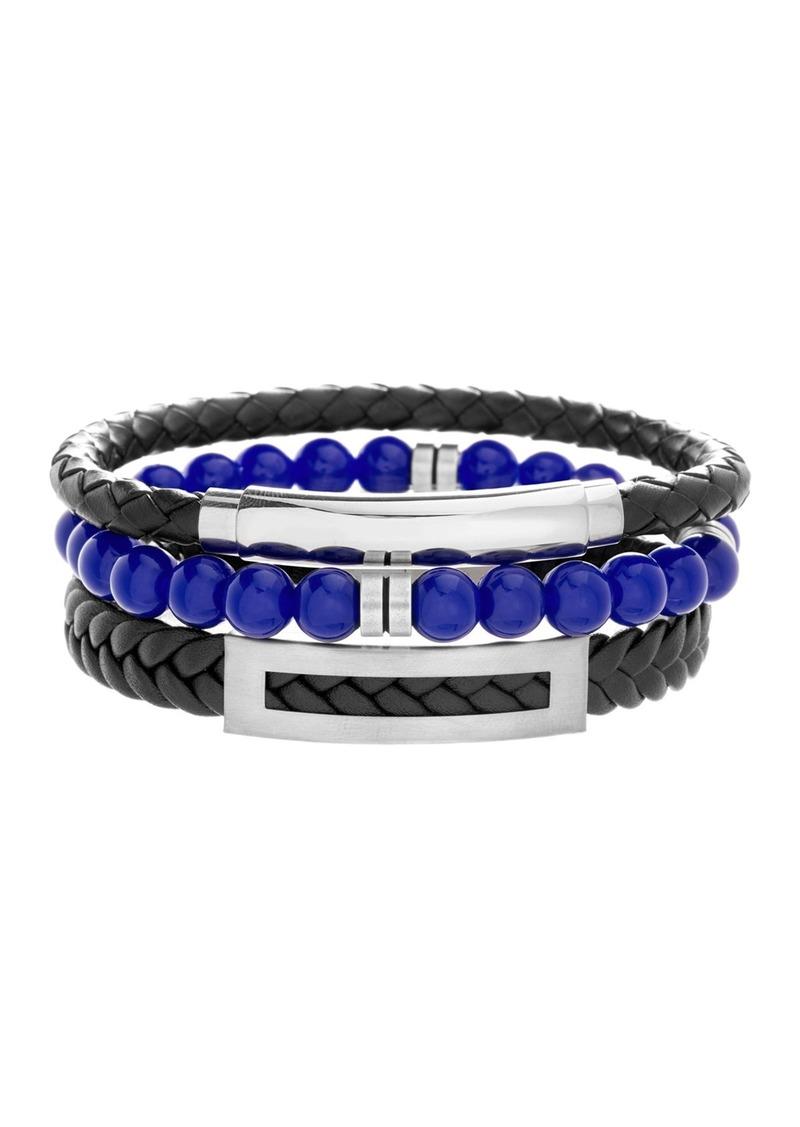 Steve Madden Stainless Steel Beaded & Braided Leather Bracelet Set