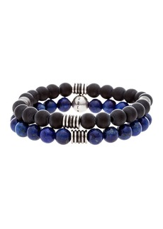 Steve Madden Stainless Steel Onyx & Lapis Beaded Bracelet Set