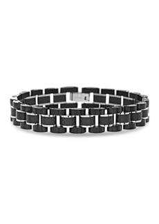 Steve Madden Stainless Steel Two-Tone Fiber Carbon Link Bracelet