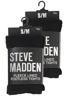 Steve Madden 2 Pack Fleece Solid and Dot Footless Tight
