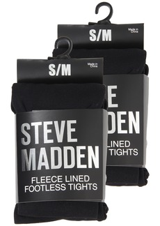 Steve Madden 2 Pack Fleece Solid and Rib Footless Tight