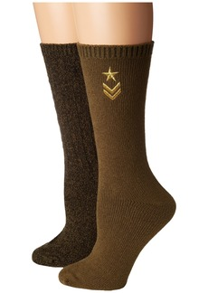 Steve Madden 2-Pack Military Boot Sock with Star Embroidery